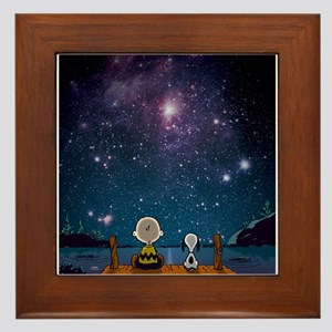 SnoopySPace-ShowerCurtain Framed Tile