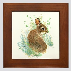 Cute Watercolor Bunny Rabbit Animal Art Framed Til