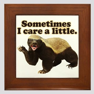 Honey Badger Sometimes I Care Framed Tile