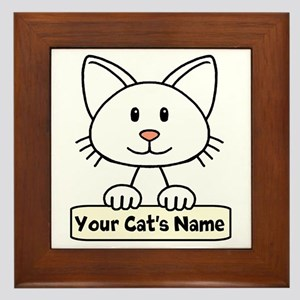 Personalized White Cat Framed Tile