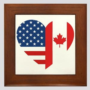 Canadian American Flag Love Framed Tile