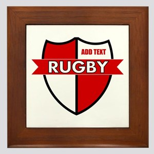 Rugby Shield White Red Framed Tile