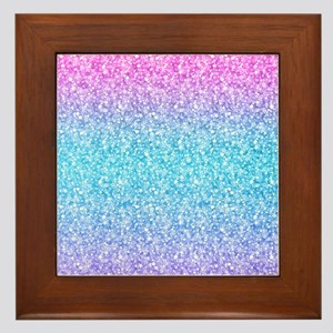 Colorful Retro Glitter And Sparkles Framed Tile