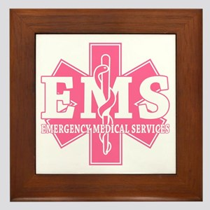 Star of Life EMS (pink) Framed Tile