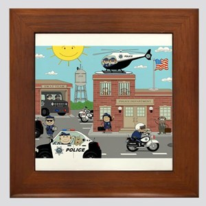 POLICE DEPARTMENT SCENE Framed Tile