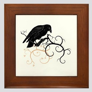 Black Raven Swirl Branches Framed Tile
