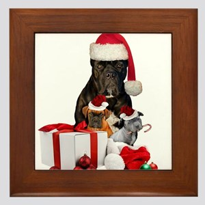 Christmas Cane Corso Framed Tile