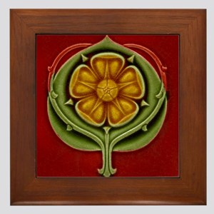 Framed Tile With Art Nouveau Glazed Floral Form