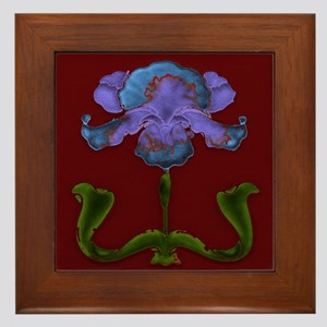 Framed Tile With Art Nouveau Bearded Iris