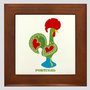 Traditional Portuguese Rooster Framed Tile