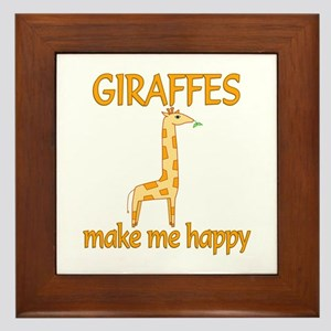 Giraffe Happy Framed Tile