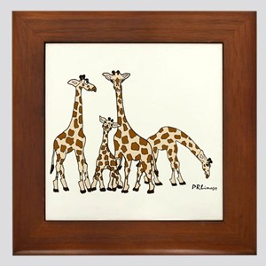Giraffe Family Portrait In Browns And Framed Tile