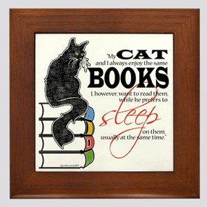 Cat and Books 2 Framed Tile