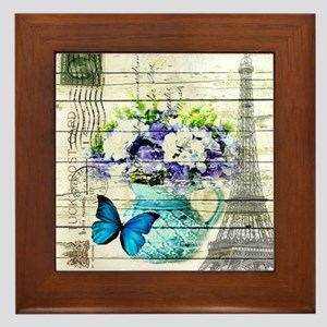 blue floral paris eiffel tower Framed Tile