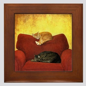 Cats sleeping on sofa. Framed Tile