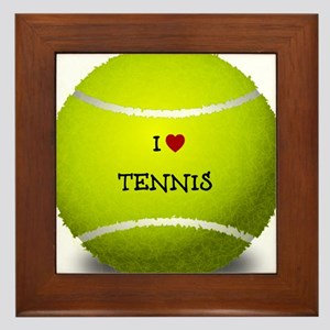 I Love Tennis on a Yellow Tennis Ball Framed Tile