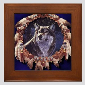 Native American Wolf Dream Catcher Framed Tile