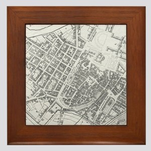 Vintage Map of Stuttgart Germany (1794 Framed Tile