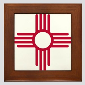 Red Zia NM State Flag Desgin Framed Tile