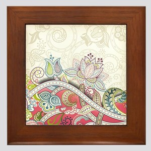 Abstract Floral Framed Tile