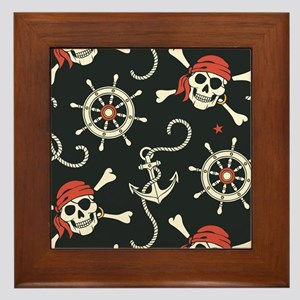 Pirate Skulls Framed Tile