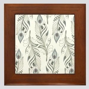 Beautiful Feathers Framed Tile