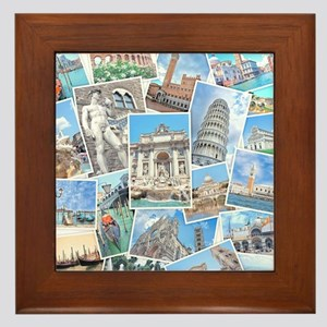 Italy Collage Framed Tile