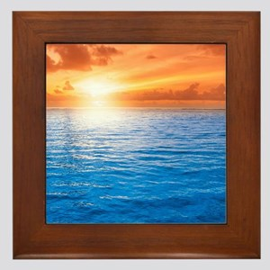 Ocean Sunset Framed Tile