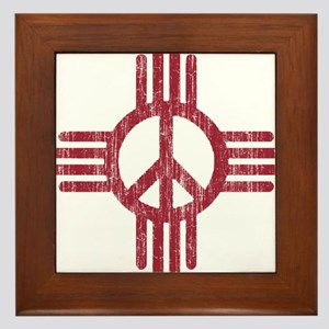New Mexico Peace Sign Framed Tile