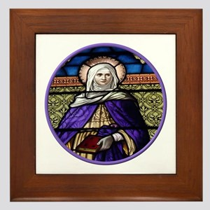 St. Anne Stained Glass Window Framed Tile