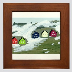 Colorful Winter Houses Framed Tile
