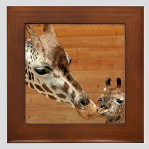 Kissing giraffes Framed Tile