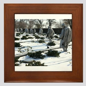 Korean war memorial veterans statues during snow F