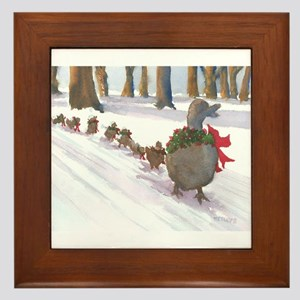 Boston Common Ducks at Christmas Framed Tile