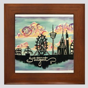 Stuttgart Skyline Framed Tile