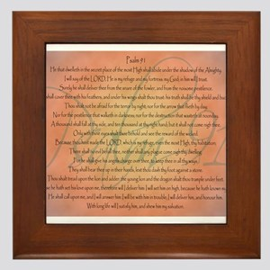 Psalm 91 Orange Script Framed Tile