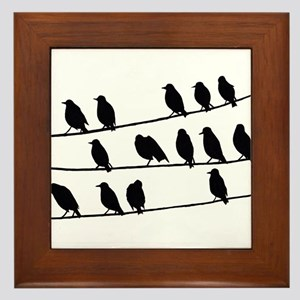 crows on the electric line Framed Tile