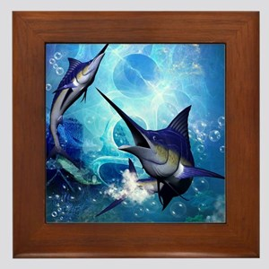 Awesome marlin Framed Tile