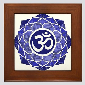 Lotus-OM-BLUE Framed Tile