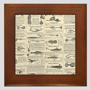 Fishing Lures Vintage Antique Newsprint Framed Til
