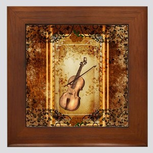Wonderful violin on a frame Framed Tile