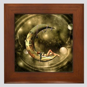 Steampunk lady in the night with moons Framed Tile