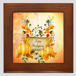 Happy thanksgiving with pumpkin Framed Tile