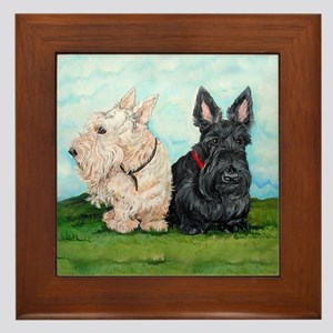 Scottish Terrier Companions Framed Tile