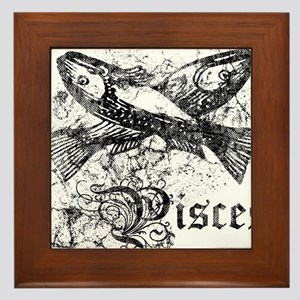 Worn Zodiac Pisces Framed Tile