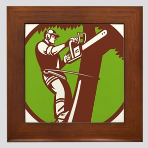Arborist Tree Surgeon Trimmer Pruner Framed Tile