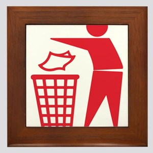Red Please Dont Litter Framed Tile