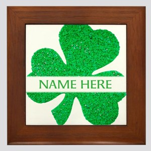 Custom Name Shamrock Framed Tile