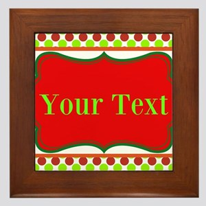 Personalizable Red and Green Polka Dots Framed Til
