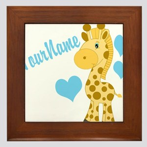 Personalizable Blue Baby Giraffe Framed Tile